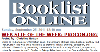 Booklist Online Web site of the week: ProCon.org