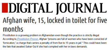Digital Journal afghan wife 15 locked in toilet for five months