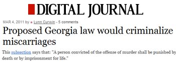 Digital Journal proposed Georgia law would criminalize miscarriages