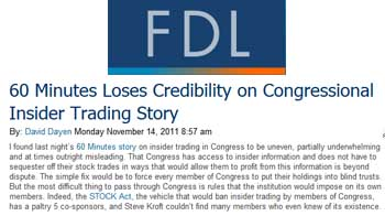 Firedoglake 60 minutes loses credibility on congressional insider trading story