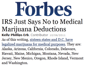 Forbes IRS just says no to medical marijuana deductions
