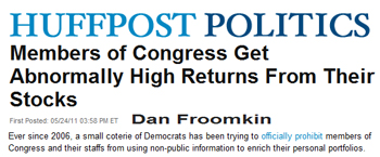 Huffington Post Members of Congress get abnormally high returns from their stocks