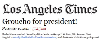 Los Angeles Times Groucho for president