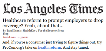 Los Angeles Times Healthcare reform to prompt employers to drop coverage