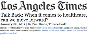 Los Angeles Times talk back when it comes to healthcare can we move forward