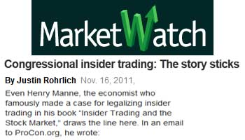 MarketWatch Congressional insider trading the story sticks