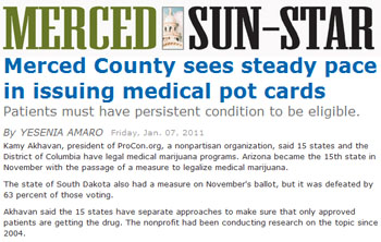 Merced Sun-Star: Merced County sees steady pace in issuing medical pot cards