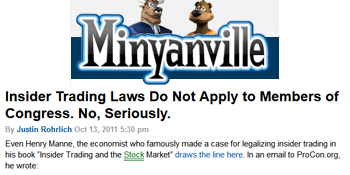 Minyanville insider trader laws do not apply to Members of Congress no seriously