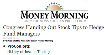 Money Morning Congress handing out stock tips to hedge fund managers
