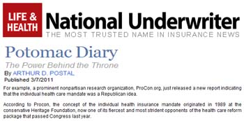 National Underwriter Potomac Diary The power behind the throne