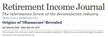 Retirement Income Journal origins of obamacare revealed