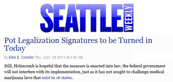Seattle Weekly pot legalization signatures to be turned in today