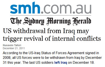 Sydney Morning Herald US withdrawal from Iraq may trigger revival of internal conflicts