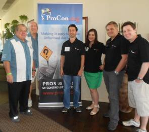The ProCon.org team: Bruce McNall, Steve Markoff, Kamy Akhavan, Tracey DeFrancesco, Marcus Hirn and Steven Jacobson