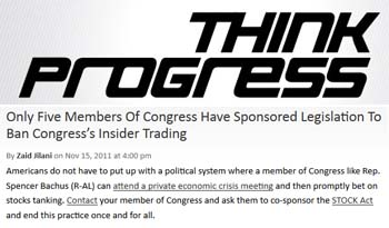 Think Progress Only five members of congress have sponosored legislation to ban congress insider trading