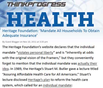 Thinkprogress Heritage foundation mandate all households to obtain adequate insurance