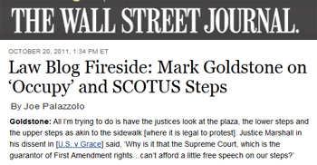 Wall Street Journal law blog fireside mark goldstone on occupy and scotus steps