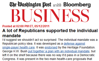 Washington Post a lot of republicans supported the individual mandate