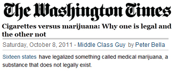 Washington Times cigarettes versus marijuana why one is legal and the other not