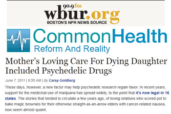 WBUR Common Health mothers loving care for dying daughter included psychedelic drugs