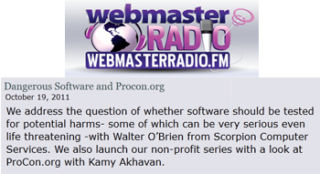 WebmasterRadio Dangerous software and ProCon.org