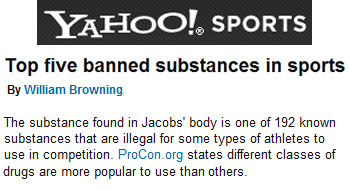 Yahoo Sports top five banned substances in sports
